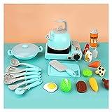 Juguete de Cocina Alimentos Utensilios de Cocina Pot Pan NIÑOS Presente PEQUEÑO Play Pieza DE Cocina DE Cocina Juego Toys ESTUFE para NIÑAS Muñeca Food Set para niños (Color : Blue)