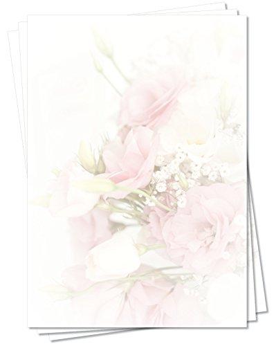 Motivpapier Briefpapier (Blumen-5166, DIN A4, 25 Blatt) - Bouquet aus wunderschönen lachsfarbenen Rosen, sehr schöner Blumenstrauß