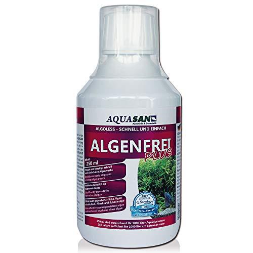 AQUASAN Aquarium ALGOLESS Algenfrei Plus (Aquarium Algenvernichter, Algenentferner - Gegen nahezu alle Algen - Bartalgen, Pinselalgen, Schmieralgen), Inhalt:0.25 Liter