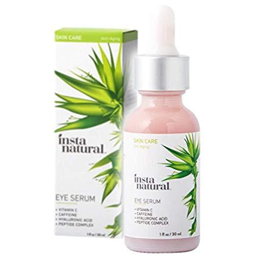 InstaNatural Augenserum bei Augenringen&Schwellungen – reduziert Augensäcke, Falten, feine Linien, schlaffe Haut – mit Vitamin C, Koffein, Pflanzenzellen, Astaxanthin & Kojisäure – 30 ml
