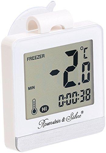 Rosenstein & Söhne Mini Thermometer: Digitales Gefrier- & Kühlschrankthermometer mit Temperatur-Timer (Gefrierthermometer)