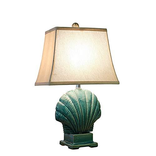 LY-LAMPADE Lampada da Tavolo in Ceramica Stile Rustico Blu Mediterraneo, Paralume in Tessuto Doppio Lucidato A Mano, Lampada da Comodino della Camera da Letto Creativa