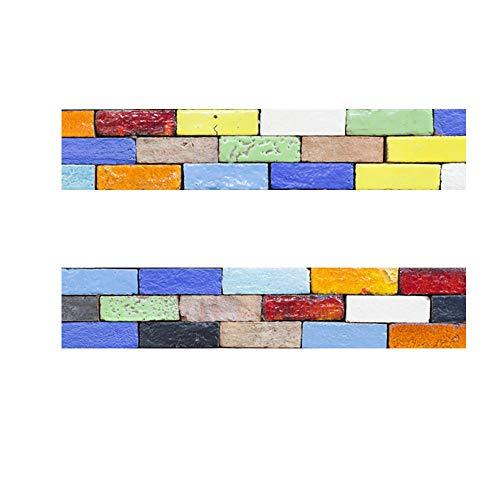 WEIFENGX Decorativos Adhesivos para Azulejos Pegatina de Pared - Personalidad Creativa Retro Cenefa Autoadhesivo- para Baño y Cocina - 20cmx100cmx2 pcs