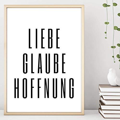 Din A4 Kunstdruck ungerahmt - Spruch - Liebe Glaube Hoffnung - Bibel Religion Typographie Motivation Geschenk Druck Poster Bild