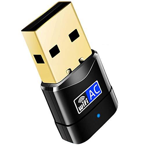 Adaptador WiFi, 600 Mbit/s, Mini Dual Band 2,4 GHz/5 GHz, Wireless USB, Receptor de Red WPS 802.11ac/n/g/b, para PC, para Windows XP/7/8/10/Vista, no Requiere CD