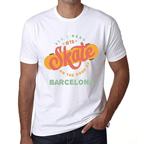 Hombre Camiseta Vintage T-Shirt Gráfico On The Road of Barcelona Blanco
