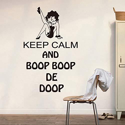 ONETOTOP Gardez Le Calme Mur Decker Ordinateur Portable Betty Boop Gardez Le Calme Citation Sticker Mural Voiture Ordinateur Autocollant Vinyle Chambre 56 * 85 cm