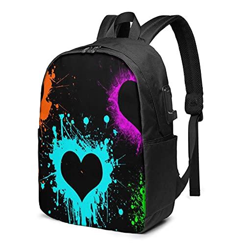 XCNGG Mochila para portátil de Viaje Splatter Paint Love, Mochila con Puerto de Carga USB, para Hombres y Mujeres, se Adapta a 17 Pulgadas