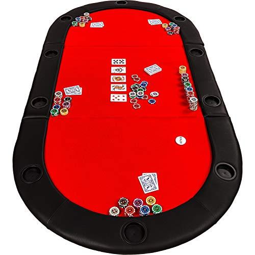 Maxstore Deluxe Faltbare Pokerauflage mit Tasche, 208x106x3 cm, MDF Platte, Gepolsterte Armauflage, 10 Getränkehalter - 2