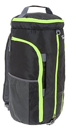SPEAR Sportspack Large Sporttasche Rucksack Reisetasche faltbar +Trinkflasche (Schwarz)