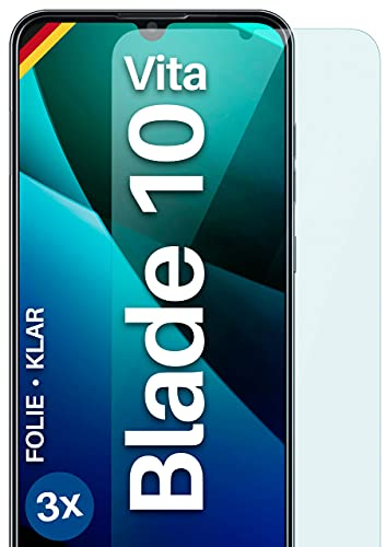 moex Klare Schutzfolie kompatibel mit ZTE Blade 10 Vita - Displayfolie kristallklar, HD Displayschutz, dünne Kratzfeste Folie, 3X Stück