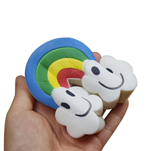Sonnena Juguetes compresivos, Squishies Kawaii Juguetes Lindo Rainbow Nube Squishy Squeeze Toy Slow Rising Decompression Toys Stress Relief Juguete Suave Squeeze Toys (14 * 6.5cm, A)