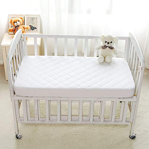 LRQY Crib Waterproof Mattress Protector Anti Allergy Breathable Baby Mattress Cover White Cot Bed Fitted Sheet 15CM Deep, 71X132 Cm/28X52 Inch