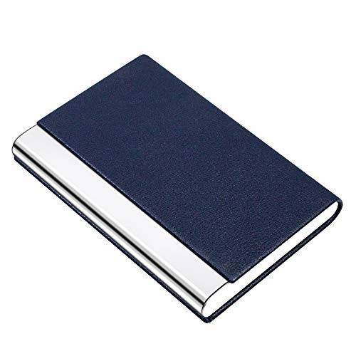 PADIKE Business Name Card Holder Luxury PU Leather & Stainless Steel Multi Card Case,Business Name Card Holder Wallet Credit Card ID Case/Holder for Men & Women (Blue)