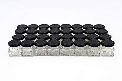 Flaschenbauer - 32 Mini Einmachgläser klein 40 ml Vierkant Gläser mit Schraubverschluss to 43 schwarz - Mini Gläser mit Deckel perfekt als Mini Marmeladengläser klein, Honiggläser Mini
