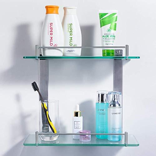 HOMEIDEAS ガラスシェルフ 浴室 ガラス棚 洗面所 バスルーム ラック コーナー シャワーラック タオル掛け 厚さ7mm 1/2段式 収納 洗面所 強化ガラス