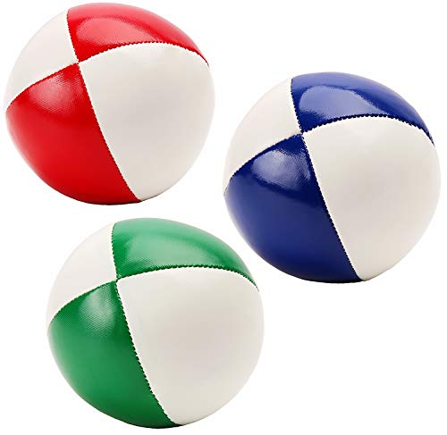 Juggling Balls for Beginners Kids & Professional (Red Green Blue)- Durable PU Leather & No Bounce Design Juggling Sets - Soft and Weighted Juggle Balls Kit