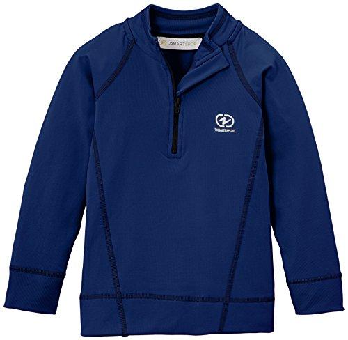 Damartsport Col Zippé T-Shirt Manches Longues Garçon, Bleu Marine, FR (Taille Fabricant : 8 Ans)