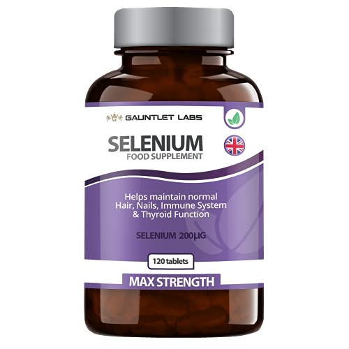 Selenium Tablets | 200mcg Supplement | Immune System & Thyroid Health | Hair, Skin & Nails | Male Fertility | Made in The UK