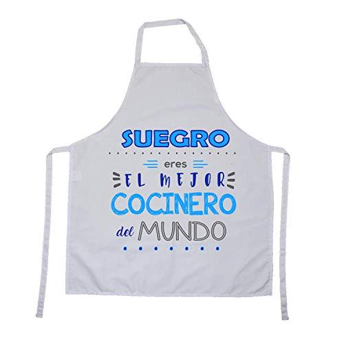 Kembilove Delantal cocina hombre – Delantales de cocina para familiares con mensajes originales – Suegro Eres el Mejor cocinero del mundo – Delantal para mujer – Regalos personalizados