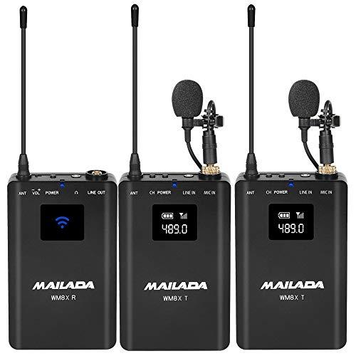 WM8S UHF Micrófono Lavalier inalámbrico Cámara Video Micrófono con funciónN Monitor Compatible con videocámaras DSLR Teléfono Inteligente para entrevistas Enseñanza Yoga Alojamiento grabación Youtube
