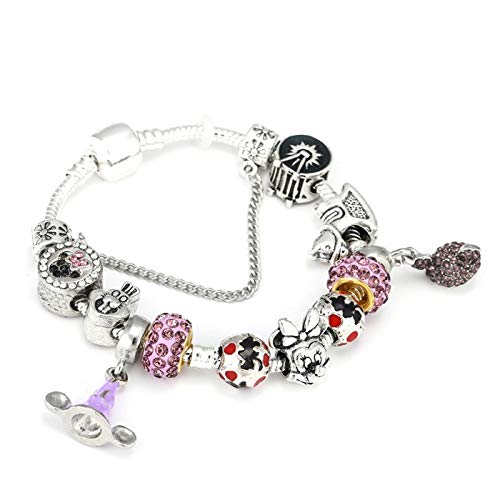 PmseK Pulsera de Moda,Pulsera de Curación Luxury Animal Charm Bracelets & Bangles Women Jewelry Minnie Pink Bow-Knot Pendant Brand Bracelet DIY Handmade For Girl Gift Black Gun Plated 19cm