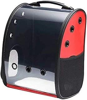 MAOSHE Pet Bag, Travel Solid Pet Bag Breathable Portable Backpack Space Pet Bag Cat Bags Dog Transparent (Color : Red)
