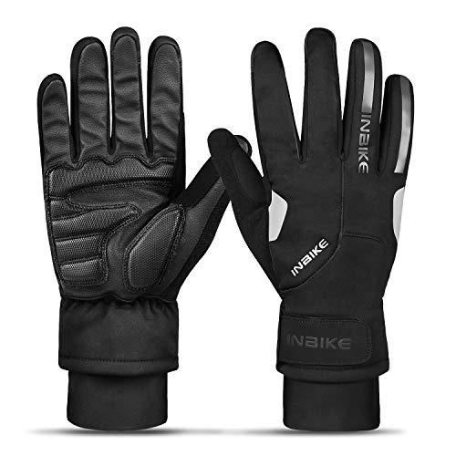 INBIKE Winterhandschuhe Herren Damen Ski Handschuhe Warm Fahrradhandschuhe Männer Winddicht Wasserdicht Stoßdämpfende Reflektierend für Radsport Skifahren Snowboard Motorradfahren(Schwarz,XL)