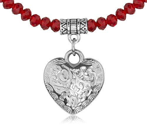 Trachtenland Glas Perlen Halskette mit Herz - Rot