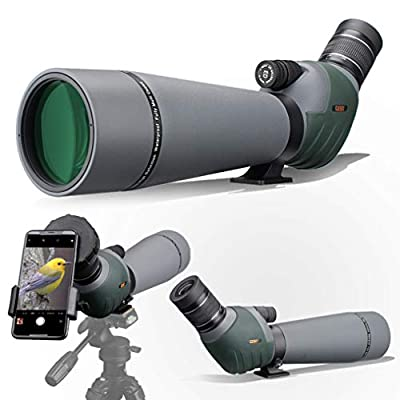 Gosky Spotting Scope for Target Shooting Bird Watching Wildlife Scenery - Waterproof BAK4 Angled Scope with Tripod, Carrying Bag and Smartphone Adapter