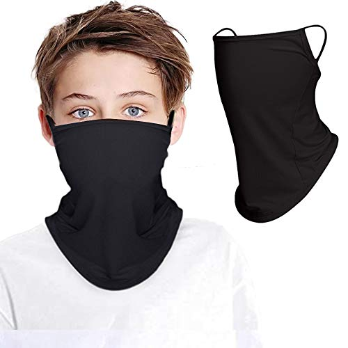 Kids Face Mask Reusable Washable Cloth Masks Tube Neck Gaiter Bandanas with Ear Loops Breathable Dust Mask Face Face Cover Mouth Mask Balaclava for Children (2 Pack)