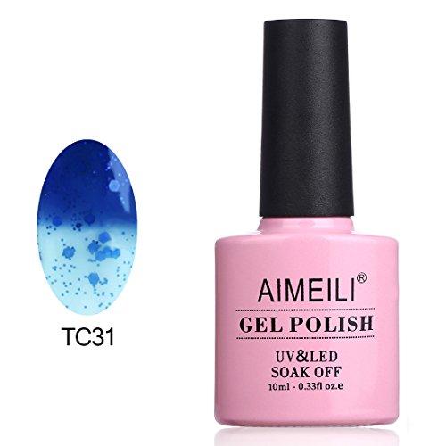 AIMEILI Esmalte De Uñas Temperatura Cambio De Color Camaleón Soak Off UV LED Uñas De Gel - Grillo Azul Oscuro a Transparente (TC31) 10ml