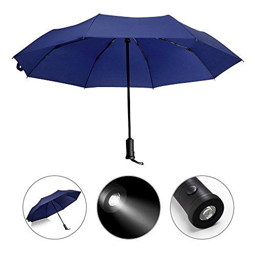 Automatischer Regenschirm mit LED-Griff, reflektierend, wendbar, faltbar, Sicherheit, Regen- und UV-Schutz, winddicht und wasserdicht, blau