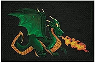 U24 Aufnäher Feuerspuckender Drache schwarz Fahne Flagge Aufbügler Patch 9 x 6 cm