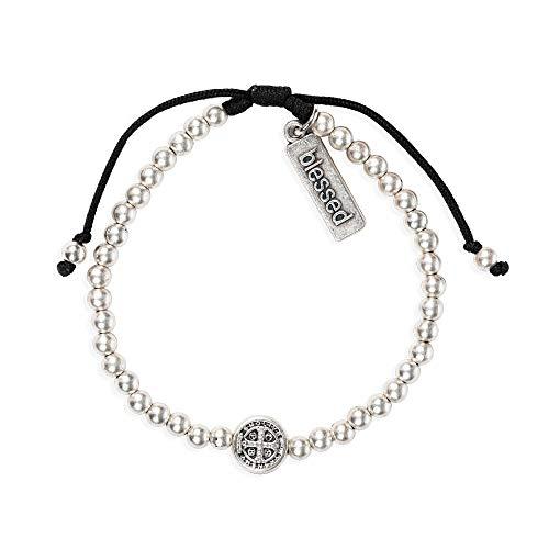 My Saint My Hero - Mantra of Love Benedictine Blessing Bracelet - Silver-Tone