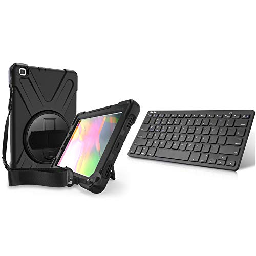 ProCase Galaxy Tab A 8.0 2019 Rugged Case T290 T295 Bundle with Wireless Keyboard for iPhone iPad iMac Cellphone Surface Laptop Smart TV (Battery Operate)