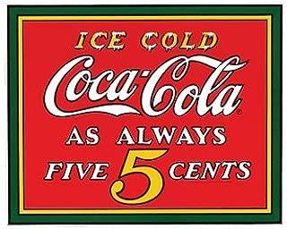 Ice Cold Coca-Cola As Always Five Cents Porcelain Fridge Magnet New