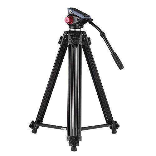 Andoer Trípode Aleación de Aluminio con Cabeza Fluido para Canon Nikon Sony Cámara (180cm)