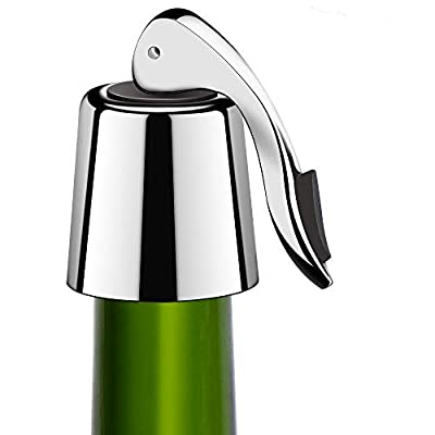 Wine Stoppers, McoMce Stainless Steel Wine Saver, Classic and Practical Wine Pump Vacuum, Wine Stopper with Silicone, Suit for Red & White Wines, Reusable Vacuum Rubber Sealer, Keeps Wine Fresh 2PCS
