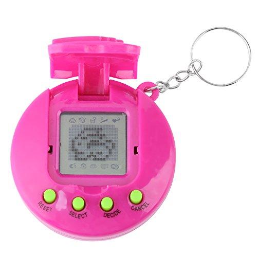 Yosoo123 Virtual Pets Keychain Electronic Digital Pet Game Keyring Children Baby Electronic Toys Nostalgic Virtual Digital Pet Retro Handheld Game Machine(Rose Red)