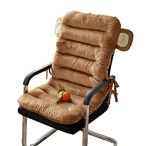 QWERTYUKJ Cojín de tumbona antideslizante para interiores y exteriores, diseño de textura, correa fija, muebles de terraza, almohadillas de asiento extraíbles de respaldo alto (color: marrón)