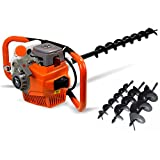 71cc Gas Powered Auger Post Hole Digger + Drill Bits 4' 6' 8'+12' Extension Bar Fence Plant Soil Digging Auger Bit Kit 3200W Industrial Post Hole Digger (Subcontract delivery)