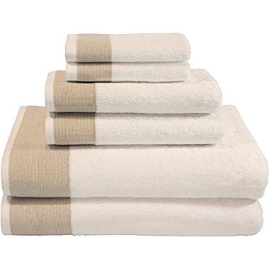 LUNASIDUS CTT-300 Venice Luxury Hotel & Spa Premium 6Piece Towel Set, 100% Turkish Cotton, Towel Sets, White Towel, Beige