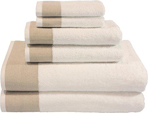 Venice 6 Piece Luxury 100 Percent Turkish Combed Cotton Towel Sets, Beige Jacquard Design