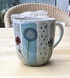 Keramikbecher,Kaffeebecher,Teebecher 250ml türkis/grau/grün mit Pusteblume,Kornblume,Mohn-getöpfert