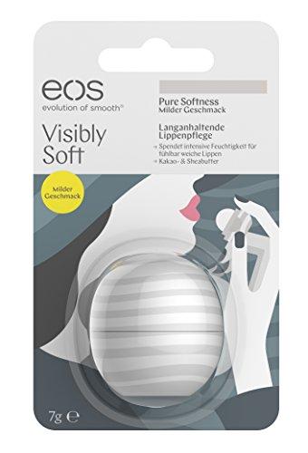 eos Visibly Soft Pure Softness Lip Balm, feuchtigkeitsspendende Lippenpflege, natürliche Intensiv-Pflege für trockene Lippen, Beauty-Helfer, 1 x 7 g