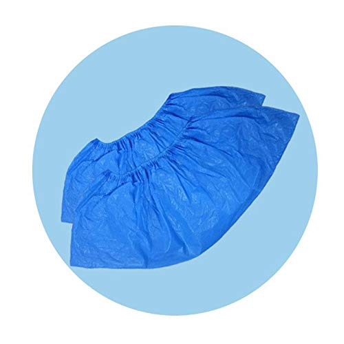 Schuhüberzieher, Überschuhe Einweg 100 Stück, AURMOO 4,5 g Schuhuberzieh Einweg Rutschfest und Wasserdicht aus Hochwertigem CPE Material. (50 Paare, Blau)