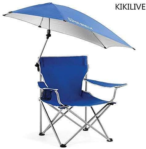 Kikilive - Silla plegable con sombrilla ajustable, silla plegable para acampada al aire libre, silla plegable con paraguas extraíble, para acampada al aire libre, silla de pesca, X Blue