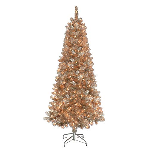Puleo International 6.5 Foot Pre-Lit Rose Gold Tinsel Artificial Christmas Tree with 400 UL-Listed Clear Lights