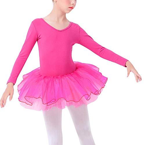 buenos comparativa Vestido de tutú de ballet rosa de manga larga para niñas – 110 y opiniones de 2021